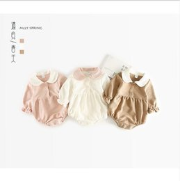 Wholesale Styling Doll - 3 color 2018 INS hot styles New spring baby kids College wind lapel romper infant kids doll collar long sleeve romper 0-2T free shipping