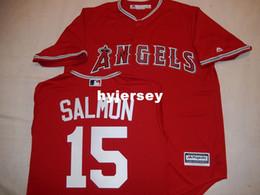 "Wholesale big tall men - Cheap custom MAJESTIC Anaheim #15 TIM SALMON ""COOL BASE"" Baseball JERSEY Red Mens stitched jerseys Big And Tall SIZE XS-6XL For sale"