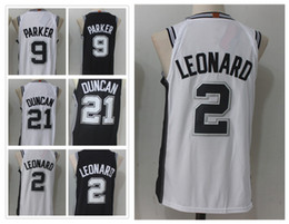 Wholesale Free Tim - NCAA Wholesale 2018 Men Elite 9#Tony Parker jersey 2# Kawhi Leonard 21# Tim Duncan basketball jerseys Embroidery Shirts Free Shipping