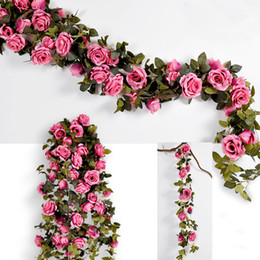 decoraciones de la boda de hiedra Rebajas 210 CM falsas rosas de seda grandes Ivy Vine flores artificiales con hojas Home Wedding Party Hanging Decoration Garland decoración Rose Vine