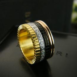 bijoux en céramique Promotion Bague en or plaqué or blanc et blanc Cercles à engrenages diamant pour hommes