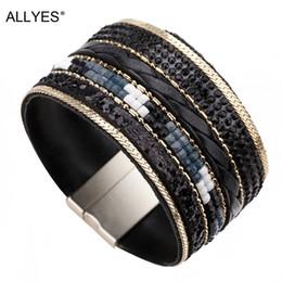 Wholesale magnet bracelet clasp crystal - ALLYES Wide Leather Bracelet Women Trendy Alloy Magnet Clasp Rhinestone Crystal Bohemian Cuff Bracelets & Bangles Female Jewelry