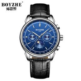 8ef79016c077 2018 Hombres Reloj Correa de cuero genuino Marrón Azul Dial Reloj Mechnical