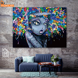Wholesale Modern Graffiti Art - COLORFULBOY Modern Creative Abstract Girl Graffiti Canvas Painting For Kids Room Wall Art Posters And Prints Wall Pictures Decor