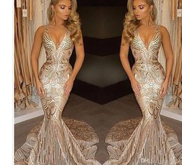 Wholesale Embroidered Tulle Evening Gowns - 2017 New Luxury Gold Prom Dresses Mermaid V Neck Sexy African Prom Gowns Vestidos Special Occasion Dresses Evening Wear