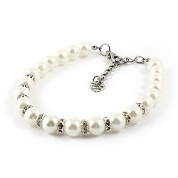 Wholesale Pearl Dog Collar - Beautiful White Faux Pearl Linked Rhinestone Detail Pet Dog Collar Necklace S size