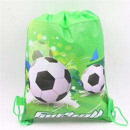 Wholesale Wholesale Recycled Fabric - Wholesale- 1pcs\lot Football Theme Non-woven Fabric Drawstring Gifts Bags Kids Favors Baby Shower Happy Birthday Party Events Decoration