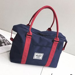 Wholesale travel organizer clothes - Women Fashion Large Capacity Luggage Canvas Shoulder Bags Clothes Organizer Weekend Multifunctional Tote Bags Travel Bags