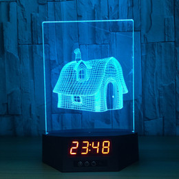 Wholesale Mouse House - 3D Fairy House Illusion Clock Lamp Night Light RGB Lights USB Powered AA Battery IR Remote Dropshipping Retail Box