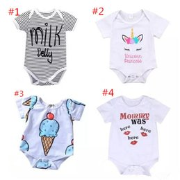 Wholesale Babies Onesies - Newborn baby boy girl unicorn clothes summer romper onesies jumpsuit kids clothing boutique outfits letter striped 2018 babies toddler 0-24M