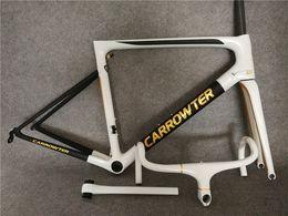 Wholesale 49cm Road Bike Frame - 80 colors Carbon Road Bike Frame CARROWTER White Gold Frameset Carbon Bicycle Frameset BOB TEAM Sky BB68 or BB30