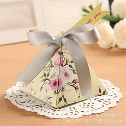 Wholesale Candy Box Pyramids - 50 pcs lot Creative Gifts Box Baby Shower Favor Triangular Pyramid Wedding Favors Candy Boxes Bomboniera Party Supplies