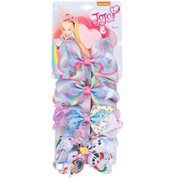 barrettes for toddlers UK - 4 Pieces Set Rainbow Printed Knot Ribbon Bow For Girls Hair Clip Children Hair Accessories Toddler Headwear