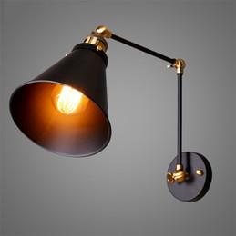 Lâmpada de braço giratório vintage on-line-Ajustável Longo Balanço Arm Wall Light Luminária Edison Retro Vintage Lâmpada de Parede Loft Estilo Industrial Apliques de Parede Apliques de LED