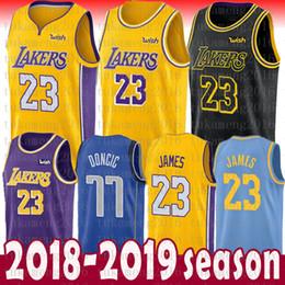 super popular 9ba2e 95948 2018-2019 New Season Uomo Youth Kids 23 LeBron James Jersey Los Angeles  Lakers 77 Luka Doncic James 2 Ball 0 Kuzma the city Maglia da basket