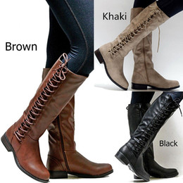 e5816962a 2018 Knee-High Knight Boots Round Toe Square Heel Boots Fashion Leather  Woman Riding Equestrian