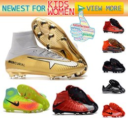 Wholesale Leather Turf Soccer Shoes - Women Men Kids 35-46 Neymar Soccer Shoes Mercurial Superfly V CR7 FG AG Football Boots Ronaldo Acc TURF Youth Magista Obra Soccer Cleats