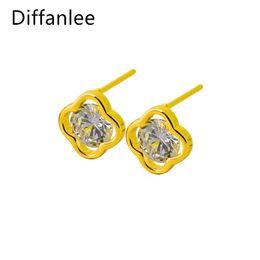 Wholesale 24k Gold Stud Earrings - Fashion 24K Gold Plated AAA Cubic Zirconia Stone Classic Clover for Women lady Stud earrings Jewelry