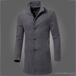 Wholesale Korean Long Vest Coat - Men Slim Large Size Wool Blend Peacoat Autumn Winter Warm Jacket Cashmere Cotton Down Coat Classic Black Long Korean Overcoat XL