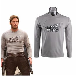 Wholesale Galaxy Costume - Cos Guardians of the Galaxy 2 Top Costume Peter Jason Quill Cosplay Star Lord T-shirts Man Long Sleeve Tee Cotton Halloween