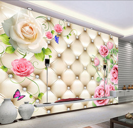 Wholesale Chinese Tv Package - Large video wall seamless mural sitting room TV setting wall paper Europe type 3 d soft package wallpaper roses
