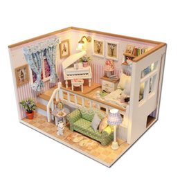 Wholesale Dolls House Lights - Wholesale- Hoomeda M026 DIY Wooden Dollhouse Because Of You Miniature Doll House LED Lights Funny Handmade Gift For Children adult