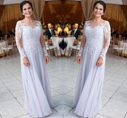 2019 vestidos de noiva com mola Chiffon Longo Mãe Vestidos Para Casamentos Lace Apliques de Lantejoulas Mangas Compridas Mãe de Noiva Noivo Vestido Plus Size Mãe Vestidos BA9248 vestidos de noiva com mola barato
