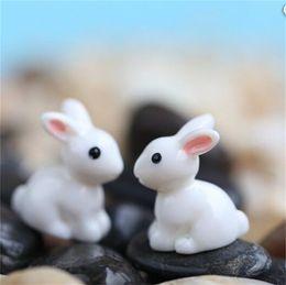 Wholesale bunny ornaments - Simulation Easter Rabbit Crafts Resin Artificial Mini White Bunny Moss Micro Landscape Ornament Outdoor Garden Home Decorative 0 22dd Y