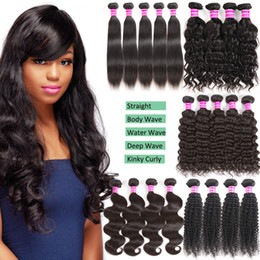 Wholesale Kinky Extensions - Wholesale Mink Brazilian Virgin Human Hair Weave Bundles Straight Body Wave Deep Kinky Curly Human Hair Extensions 3 4 5 Mix Pure Black