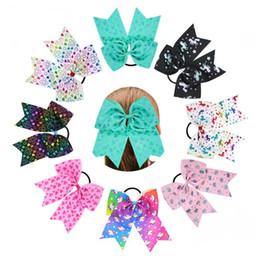 Wholesale Rubber Band Ribbon - Nishine New Unicorn Horn Hair Rope Girls Fashion Ribbon Bow Headwear Children Heart Cheer Bow Rubber Band Headband