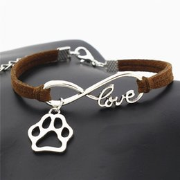 bracelet dog pendants Coupons - Hot Vintage Silver Color Infinity Love Pet Footprint Cats Dogs Paw Claw Pendant Charm Bracelet Dark Brown Leather Suede Jewelry Dropshipping