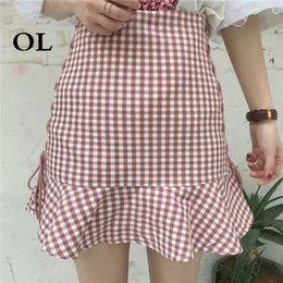 062581d214f2  OL 2018 Summer Fashion Trend Student A-line Skirt Korean High Waist  Ruffles Plaid Cotton Wild Slim Womens Skirts H804