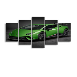 Wholesale Framed Car Pictures - 5 pieces high-definition print Sports car canvas oil painting poster and wall art living room picture C5-049