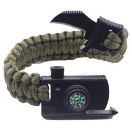 Cuchillos de rescate online-Hombres Trenzados Multi-función Al Aire Libre Paracord Supervivencia Pulsera Cuchillo Brújula Camping Rescue Cuerda de Emergencia Pulseras Para Las Mujeres
