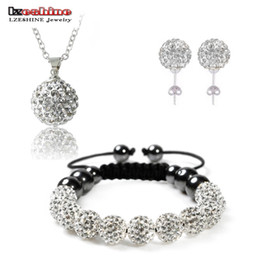 Wholesale Crystal Disco Ball Jewelry Set - whole saleFashion Crystal Shamballa Set Necklaces & Pendants Bracelet Earring Studs Jewelry Set With Disco Balls for Women SHSTImix1