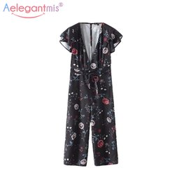 86cc1e214ae4 Aelegantmis Women Sexy V Neck Short Sleeve Ruffles Jumpsuits Rompers Ladies  Floral Print Slim Jumpsuit Wide Leg Loose Playsuit
