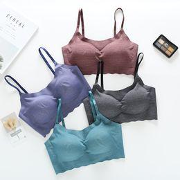 Wholesale Push Up Tank - Casual Seamless One Piece Push up Tank Top Women Sleepwear Bra Wireless Comfortable Top Basic Wear Inside