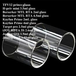 H tanques on-line-TFV12 príncipe H-priv Hpriv min Berserker MTL RTA Kayfun Prime alvo pro iJOY RDTA 5S Justfog Q16 Fog1 Tanque Pyrex Substituição Tubo De Vidro