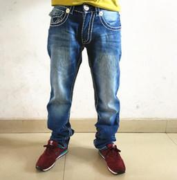 Hip-jeans-marken online-Gebleichte blaue gerade Jeans Hommes TRUE RELIGION Denim-Hosen-Taschen-Deisgn Fashion Brand Jeans Mens Fit Hip Hop Jeans