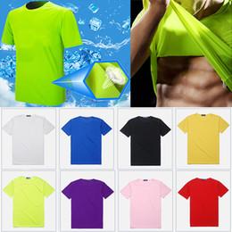 Argentina Camiseta de enfriamiento de cuello redondo Deportes color sólido transpirable Hombres Mujeres de manga corta de secado rápido camiseta inicio ropa logotipo personalizado WX9-852 Suministro