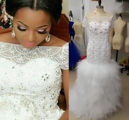 Vestidos de noiva imagens de trem longo on-line-Fotos reais africano nigeriano estilos plus size sereia vestidos de casamento vestidos de noiva beading hierárquico mangas curtas trem longo da varredura