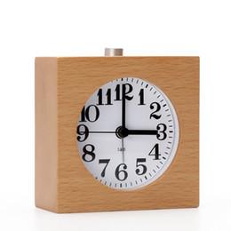 Wholesale Lazy Alarm Clock - Small wood alarm clock needle creative mute night light lazy snooze alarm clock for students children bedroom personality