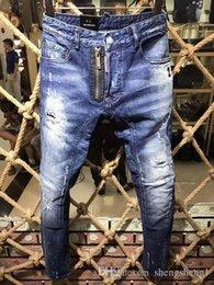Wholesale Button Fly Men S Jeans - 2018 Italy Fashion Tide Brand Men Jeans Hole fashion Desginer Patch Slim Striaght D Pants Ripped Denim Jean