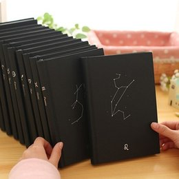 Wholesale Paper Cover Book - 12 Constellations Notepads Creative With Bookmark Belt Paper Diary Book Hot Silver Cover Notebook Top Quality 9 5st B
