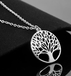 Wholesale white wishing trees - Tree Of Life Pendant Necklace Fashion Silver Wish Women Hollow Sweater Collarbone Chain Necklace Valentine Jewelry