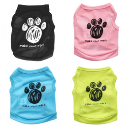 Wholesale Cloth Material Wholesale - Colorful Polyester Fiber Material Pet Vest Breathable Kawaii Footprint Dog Cloth For Spring Autumn Cool Puppy Apparel 5 7cy4 Z