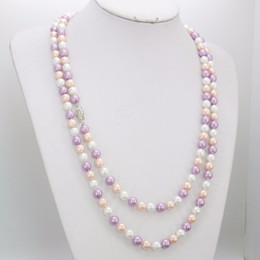 Wholesale freshwater pearl necklace designs - ashion Jewelry 8mm Multicolor Freshwater Shell Pearls Necklace DIY Handmade Necklace Fashion Jewelry Making Design Clothing accessories ...