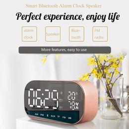Wholesale mini clock temperature - S2 V9 Portable Bluetooth Speaker Support Temperature LCD Display FM Radio Alarm Clock Wireless Stereo Subwoofer Music Player MIS188