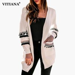f0b4239e2b VITIANA Women Casual Loose Cardigan Female 2018 Autumn Winter Clothes  Sweater Open Stitch Ladies Elegant Outwear Knit Coat