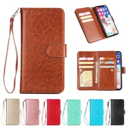 Capa de iphone rosa de ouro on-line-Multi-funcional estojo de couro carteira para iphone xr xs max x 7 8 pu capa flip case 9 cartões de crédito coque bolso rosa de ouro